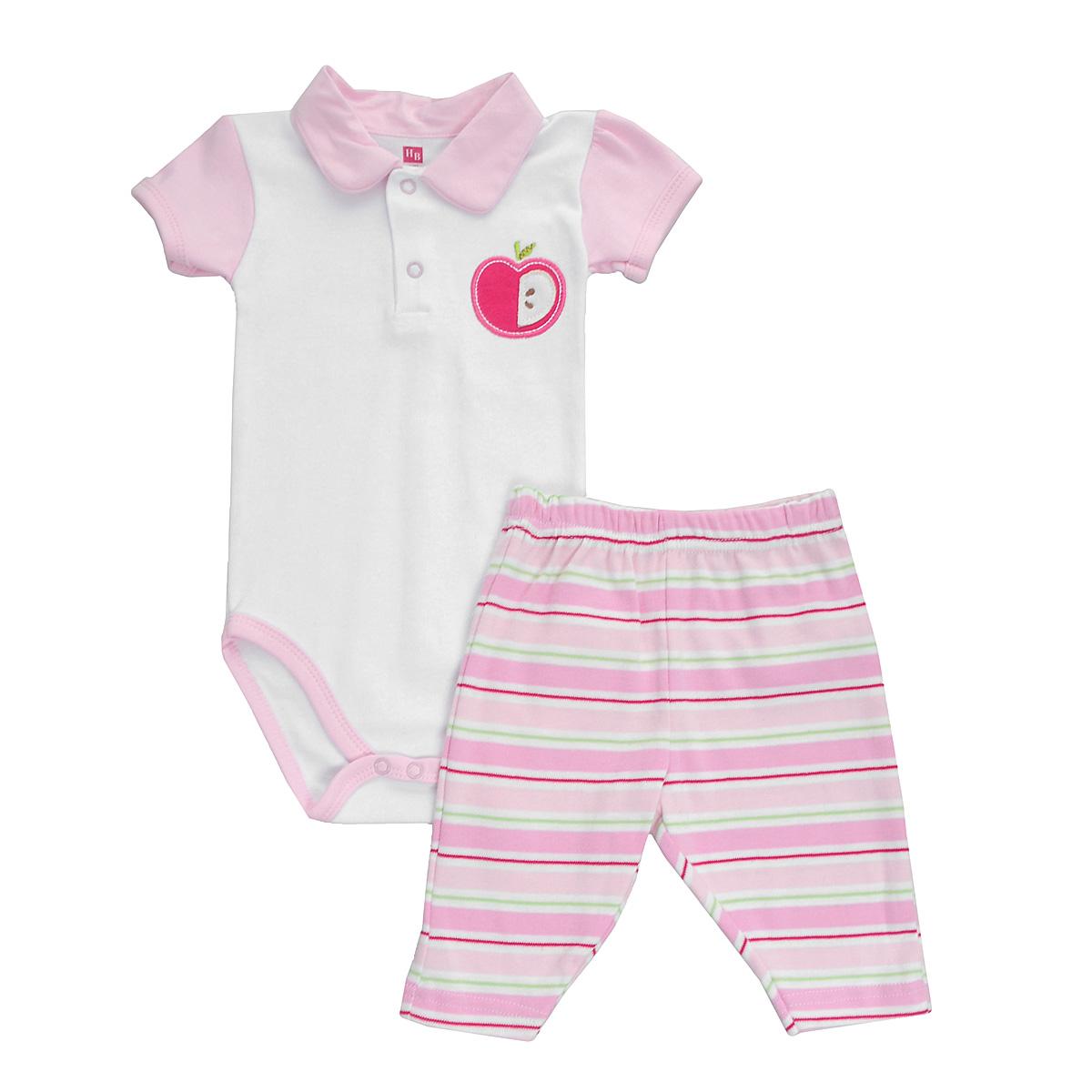 Комплект для девочки Яблоко: боди-поло, штанишки. 5034050340Яркий комплект для новорожденной девочки Hudson Baby Яблоко, состоящий из боди и штанишек, послужит идеальным дополнением к гардеробу вашей малютки, обеспечивая ей наибольший комфорт. Изготовленный из натурального хлопка, он необычайно мягкий и легкий, не раздражает нежную кожу ребенка и хорошо вентилируется, а эластичные швы приятны телу младенца и не препятствуют его движениям. Боди с короткими рукавами и отложным воротничком-поло имеет удобные застежки-кнопки на груди и ластовице, которые помогают легко переодеть малышку и сменить подгузник. На груди оно оформлено нашивкой в виде яблочка. Штанишки благодаря мягкому эластичному поясу не сдавливают животик младенца и не сползают, обеспечивая ему наибольший комфорт. Сзади они дополнены небольшим накладным кармашком. Комплект полностью соответствует особенностям жизни ребенка в ранний период, не стесняя и не ограничивая его в движениях. В нем ваша малышка всегда будет в центре внимания.