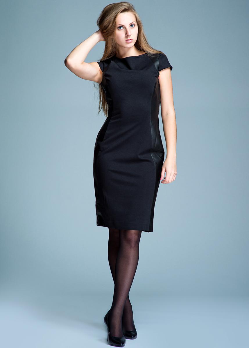 Платье женское. 1300109313001093Стильное платье выполнено из плотного трикотажного материала. Платье приталенного силуэта с круглым вырезом горловины, с короткими рукавами отлично подчеркнет женственность и красоту вашей фигуры. Платье застегивается на потайную молнию на спинке, оформлено боковыми вставками под кожу. Элегантное платье - для девушки, стремящейся всегда оставаться стильной и яркой.