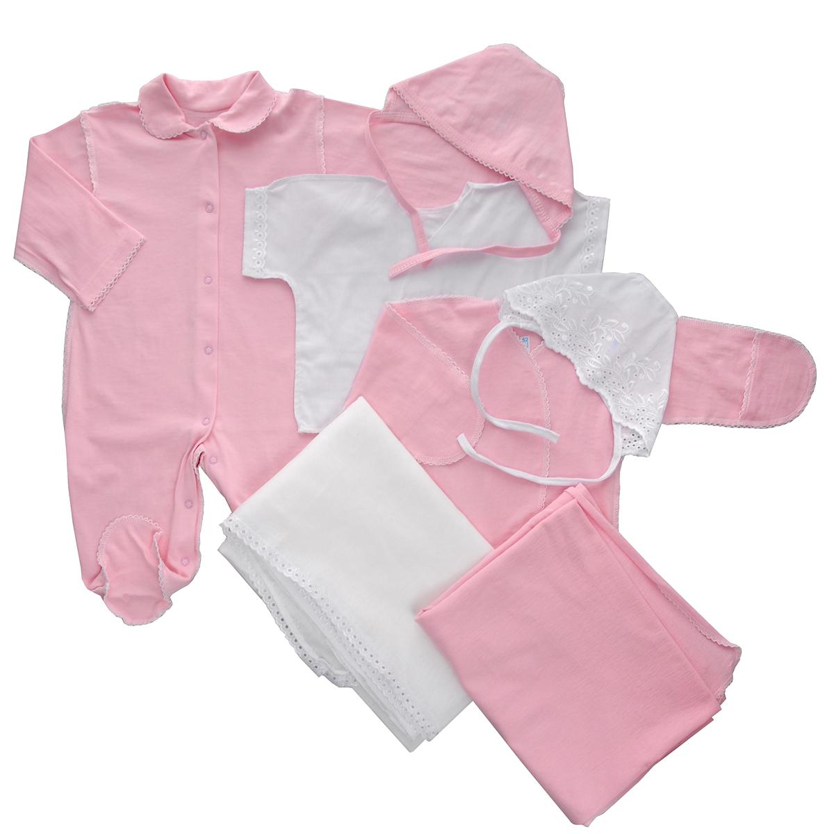 Комплект для новорожденного, 7 предметов. 34723472Комплект для новорожденного Трон-плюс - это замечательный подарок, который прекрасно подойдет для первых дней жизни малыша. Комплект состоит из комбинезона, двух распашонок, двух чепчиков и двух пеленок. Комплект изготовлен из натурального хлопка, благодаря чему он необычайно мягкий и приятный на ощупь, не сковывает движения младенца и позволяет коже дышать, не раздражает даже самую нежную и чувствительную кожу ребенка, обеспечивая ему наибольший комфорт. Легкая распашонка с короткими рукавами выполнена швами наружу. Изделие украшено вышивкой, а рукава декорированы ажурными рюшами. Распашонка с длинными рукавами и с запахом выполнена швами наружу. Оформлено изделие ажурными петельками. Рукава дополнены рукавичками, которые обеспечат вашему малышу комфорт во время сна и бодрствования, предохраняя нежную кожу новорожденного от расцарапывания. Рукавички можно завернуть. Чепчик защищает еще не заросший родничок, щадит чувствительный слух малыша, прикрывая ушки, и...