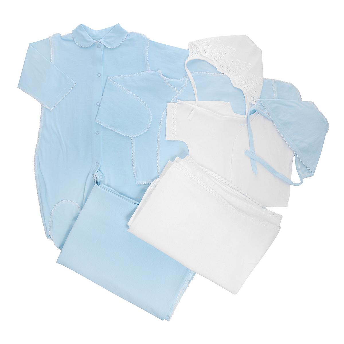 Комплект одежды3472Комплект для новорожденного Трон-плюс - это замечательный подарок, который прекрасно подойдет для первых дней жизни малыша. Комплект состоит из комбинезона, двух распашонок, двух чепчиков и двух пеленок. Комплект изготовлен из натурального хлопка, благодаря чему он необычайно мягкий и приятный на ощупь, не сковывает движения младенца и позволяет коже дышать, не раздражает даже самую нежную и чувствительную кожу ребенка, обеспечивая ему наибольший комфорт. Легкая распашонка с короткими рукавами выполнена швами наружу. Изделие украшено вышивкой, а рукава декорированы ажурными рюшами. Распашонка с длинными рукавами и с запахом выполнена швами наружу. Оформлено изделие ажурными петельками. Рукава дополнены рукавичками, которые обеспечат вашему малышу комфорт во время сна и бодрствования, предохраняя нежную кожу новорожденного от расцарапывания. Рукавички можно завернуть. Чепчик защищает еще не заросший родничок, щадит чувствительный слух малыша, прикрывая ушки, и...