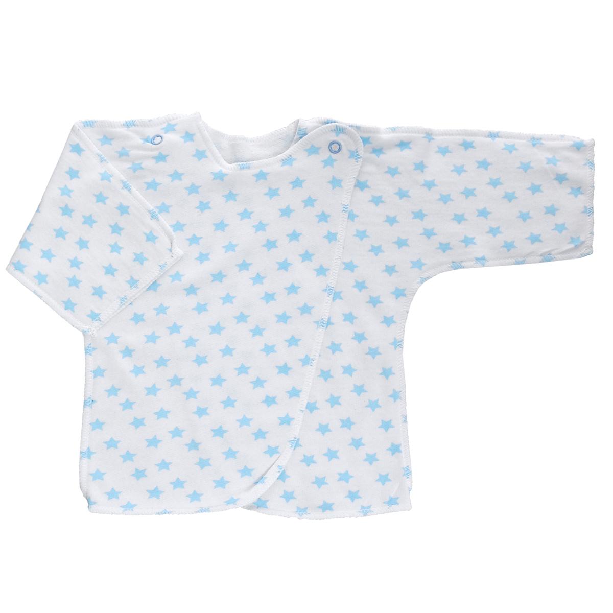 Распашонка. 50225022Распашонка Трон-плюс послужит идеальным дополнением к гардеробу младенца. Распашонка с рукавами-кимоно, выполненная швами наружу, изготовлена из футера - натурального хлопка, благодаря чему она необычайно мягкая и легкая, не раздражает нежную кожу ребенка и хорошо вентилируется, а эластичные швы приятны телу малыша и не препятствуют его движениям. Распашонка с запахом, застегивается при помощи двух кнопок на плечах, которые позволяют без труда переодеть ребенка. Распашонка полностью соответствует особенностям жизни ребенка в ранний период, не стесняя и не ограничивая его в движениях.
