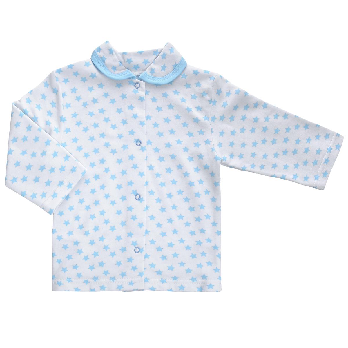 Кофточка детская. 51755175Кофточка для новорожденного Трон-плюс с длинными рукавами послужит идеальным дополнением к гардеробу вашего малыша, обеспечивая ему наибольший комфорт. Изготовленная из футерованного полотна - натурального хлопка, она необычайно мягкая и легкая, не раздражает нежную кожу ребенка и хорошо вентилируется, а эластичные швы приятны телу малыша и не препятствуют его движениям. Удобные застежки-кнопки по всей длине помогают легко переодеть младенца. Модель дополнена отложным воротником. Кофточка полностью соответствует особенностям жизни ребенка в ранний период, не стесняя и не ограничивая его в движениях.