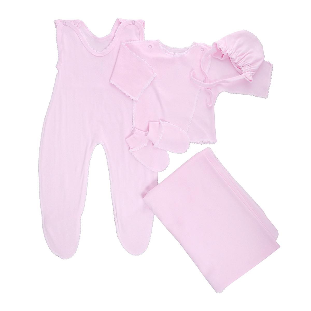 Комплект для новорожденного, 5 предметов. 71277127Комплект для новорожденного Трон-плюс - это замечательный подарок, который прекрасно подойдет для первых дней жизни малыша. Комплект состоит из ползунков с грудкой и закрытыми ножками, распашонки, чепчика, рукавичек и пеленки. Комплект изготовлен из натурального хлопка, благодаря чему он необычайно мягкий и приятный на ощупь, не сковывает движения младенца и позволяет коже дышать, не раздражает даже самую нежную и чувствительную кожу ребенка, обеспечивая ему наибольший комфорт. Распашонка с запахом, застегивается при помощи двух кнопок на плечах, которые позволяют без труда переодеть ребенка. Швы выполнены наружу и обработаны ажурными петельками. Ползунки с закрытыми ножками, застегивающиеся сверху на две кнопочки, идеально подойдут вашему ребенку, обеспечивая ему наибольший комфорт. Подходят для ношения с подгузником и без него. Мягкий чепчик с завязочками защищает еще не заросший родничок, щадит чувствительный слух малыша, прикрывая ушки, и предохраняет от...