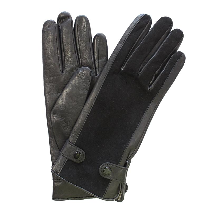 Перчатки женские модель 354. Э-21L на шерстиЭ-21L_354Стильные женские перчатки Edmins не только защитят ваши руки от холода, но и станут великолепным украшением. Перчатки выполнены из натуральной кожи ягненка, подкладка - из шерсти. Лицевая сторона оформлена вставками из замши, манжеты декорированы хлястиками на кнопках. В настоящее время перчатки являются неотъемлемой принадлежностью одежды, вместе с этим аксессуаром вы обретаете женственность и элегантность. Перчатки станут завершающим и подчеркивающим элементом вашего стиля и неповторимости.