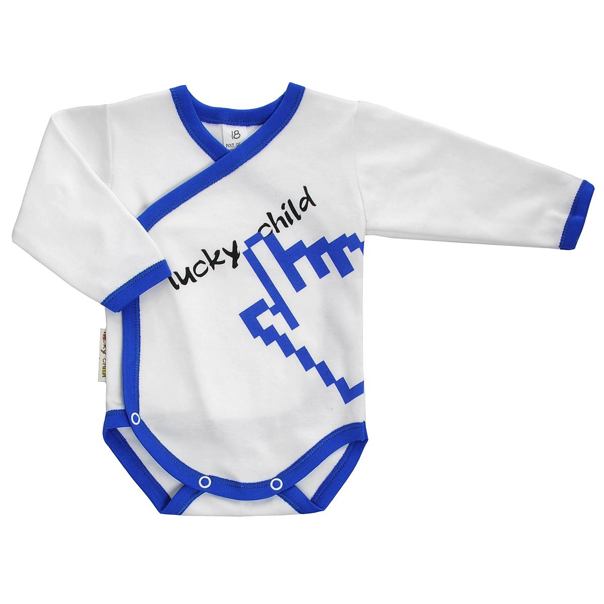 Боди для мальчика. 9-59-5Боди для мальчика Lucky Child с запахом и длинными рукавами послужит идеальным дополнением к гардеробу малыша, обеспечивая ему наибольший комфорт. Боди изготовлено из натурального хлопка, благодаря чему оно необычайно мягкое и легкое, не раздражает нежную кожу ребенка и хорошо вентилируется, а эластичные швы приятны телу малыша и не препятствуют его движениям. Удобные застежки-кнопки спереди и на ластовице помогают легко переодеть младенца и сменить подгузник. Боди спереди оформлено ярким оригинальным принтом. Вырез горловины, низ рукавов и проймы для ножек дополнены эластичной резинкой. Боди полностью соответствует особенностям жизни малыша в ранний период, не стесняя и не ограничивая его в движениях. В нем ваш ребенок всегда будет в центре внимания.