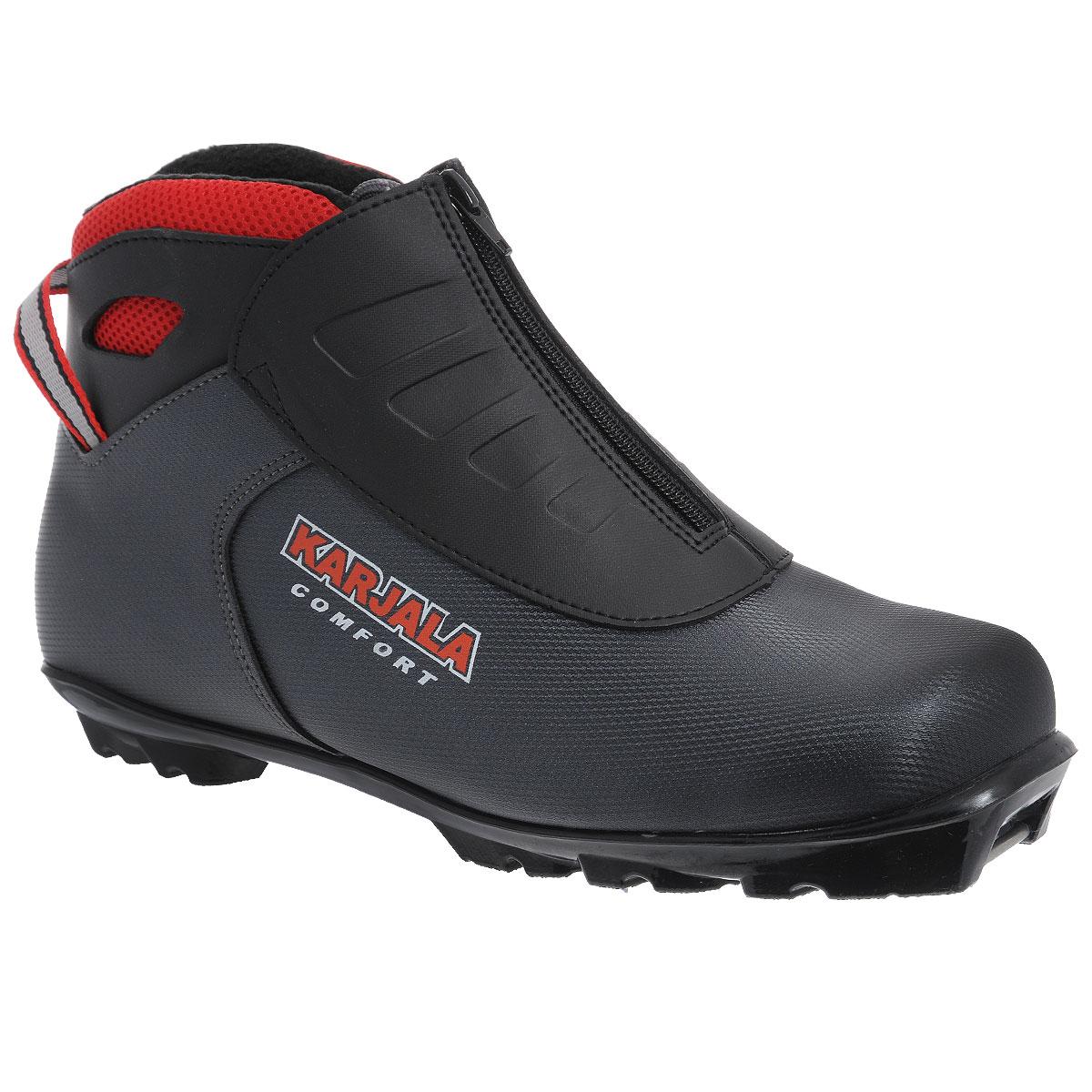 Ботинки для беговых лыж Comfort NNNComfort NNN_серыйБотинки для беговых лыж Comfort NNN предназначены для классического и конькового стилей. Модель изготовлена из влагоустойчивого и морозоустойчивого материала с покрытием PU и имеет текстильную подкладку и стельку из капровелюра, благодаря чему ваши ноги всегда будут в тепле. Вставки в мысовой и пяточной частях обеспечивают дополнительную жесткость, позволяя дольше сохранять первоначальную форму ботинка и предотвращать натирание и наминание стопы. Ботинки снабжены удобной шнуровкой с пластиковыми петлями и внешним защитным гидроизоляционным клапаном с боковой молнией, который защищает от попадания снега и влаги, а также пяточной петлей для удобного надевания. Голеностопный сустав фиксируется пластиковой манжетой с регулируемой липучкой, что позволяет комфортно ощущать себя при езде. Подошва системы NNN из высокотехнологичного термопластика совместима с креплением аналогичной системы и позволяет использовать крепление с широкой базой для большей устойчивости, а также имеет...