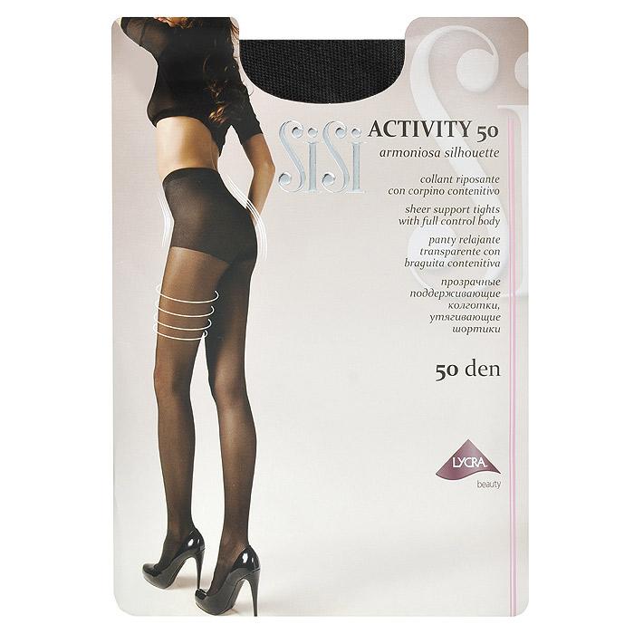 Колготки женские Activity 50Activity 50_DainoПрозрачные поддерживающие колготки Sisi Activity 50 с плотными утягивающими шортиками. Гигиеническая ластовица, удобные швы, невидимый носок.