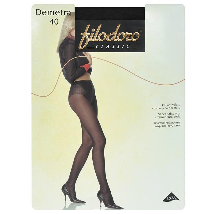 Колготки женские Demetra 40Demetra 40_GlaceТонкие матовые колготки Filodoro Demetra 40, с высокими ажурными трусиками, гигиеничной ластовицей, удобным швом и невидимым мыском.