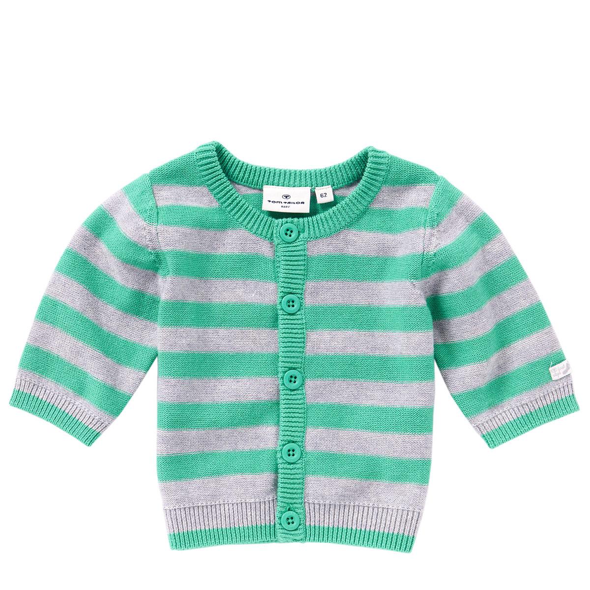 Кофта для мальчика. 3016740.00.223016740.00.22Уютная вязаная кофта для мальчика Tom Tailor идеально подойдет вашему младенцу. Хлопковая пряжа, делает ее очень мягкой, приятной, комфортной в носке. Она не сковывает движения малыша и позволяет коже дышать, не раздражает даже самую нежную и чувствительную кожу ребенка, обеспечивая ему наибольший комфорт. Кофта с длинными рукавами и круглым вырезом горловины застегивается на пуговички. Оформлена кофточка контрастными полосками. Край рукавов, вырез горловины и низ модели связаны мелкой резинкой. Такая кофта - незаменимая вещь в гардеробе младенца, она отлично сочетается с брюками.