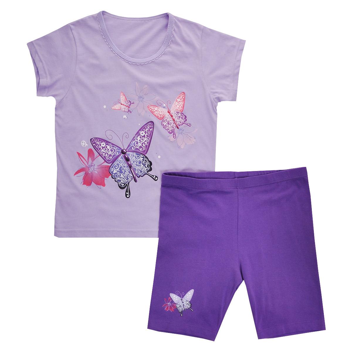 Комплект одеждыGF/GL-252Комплект для девочки Lowry, состоящий из футболки и шорт, идеально подойдет вашей малышке. Изготовленный из натурального хлопка, он необычайно мягкий и приятный на ощупь, не сковывает движения малышки и позволяет коже дышать, не раздражает даже самую нежную и чувствительную кожу ребенка, обеспечивая ему наибольший комфорт. Футболка с короткими рукавами и круглым вырезом горловины спереди оформлена яркой термоаппликацией с изображением бабочек. Вырез горловины украшен ажурными рюшами. Шортики на талии имеют широкую эластичную резинку, благодаря чему они не сдавливают животик ребенка и не сползают. Правая брючина оформлена термоаппликацией с изображением бабочки и цветочка. Оригинальный дизайн и модная расцветка делают этот комплект незаменимым предметом детского гардероба. В нем вашей маленькой принцессе будет комфортно и уютно, и она всегда будет в центре внимания!