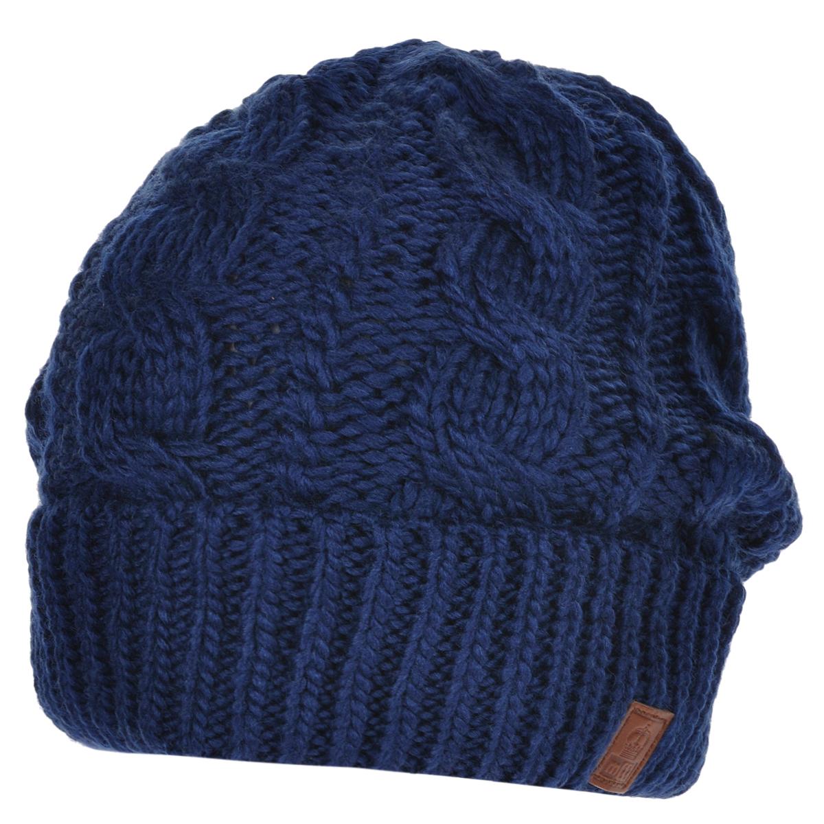 """Шапка мужская. 40944094Мужская вязаная шапка Marhatter выполнена из шерсти и полиакрила. Шапка превосходно сохраняет тепло, мягкая и идеально прилегает к голове. Шапка оформлена вязаным узором """"косы"""" и имеет широкий отворот ."""