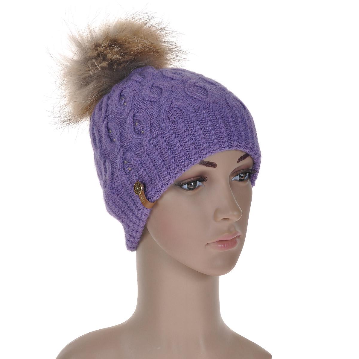 """Шапка женская. 45474547Вязаная шапка Marhatter с орнаментом """"косы"""" выполнена из шерсти с добавлением нейлона, ангоры и вискозы. Она превосходно сохраняет тепло, мягкая и идеально прилегает к голове. Шапка оформлена меховым помпоном."""