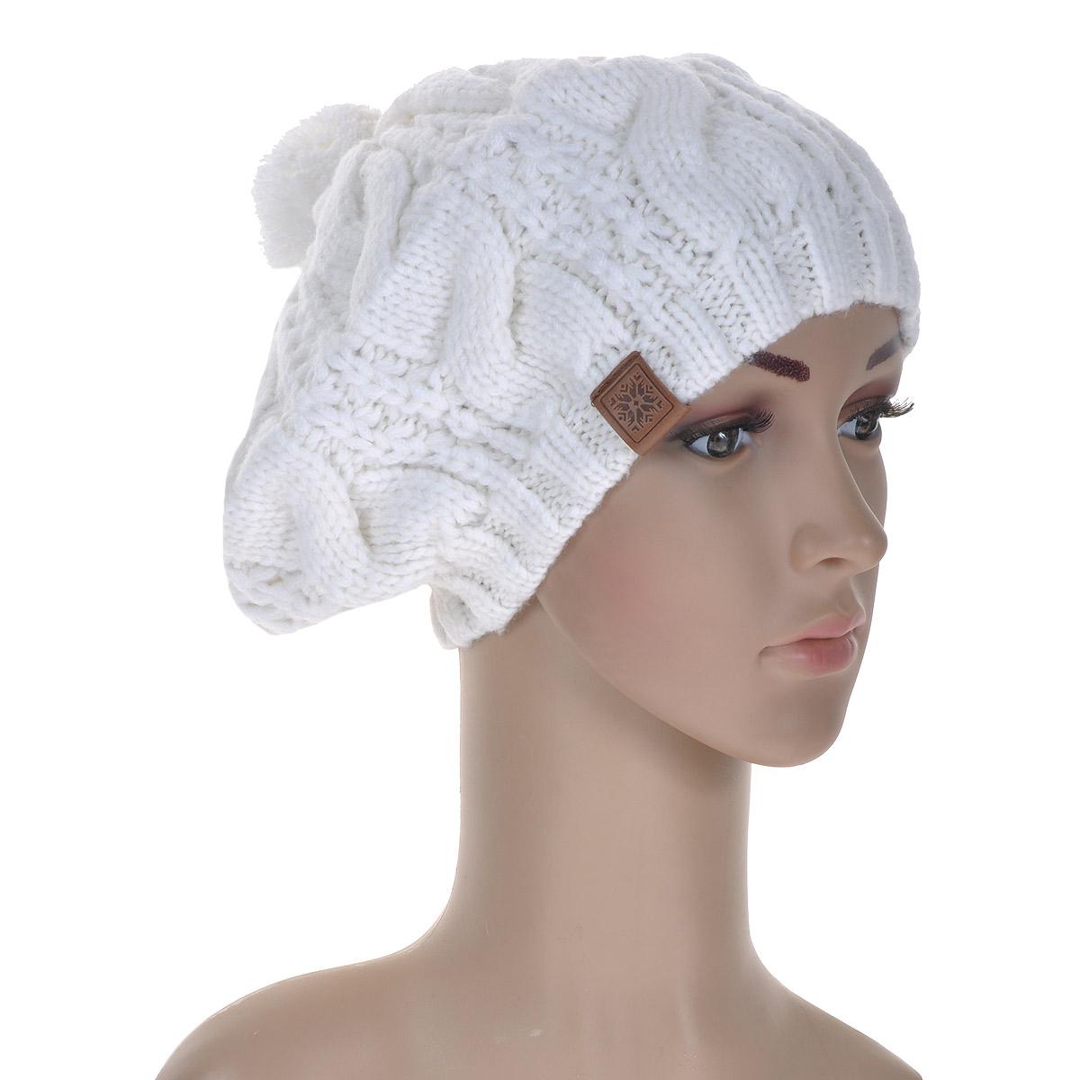 Берет4096Женский вязаный берет Marhatter классического кроя отлично дополнит ваш образ. Берет, выполненный из шерсти и акрила, максимально сохраняет тепло, хорошо тянется и отлично сидит на голове. Берет на макушке оформлен забавным помпоном. Такой берет составит идеальный комплект с модной верхней одеждой, в нем вам будет уютно и тепло!