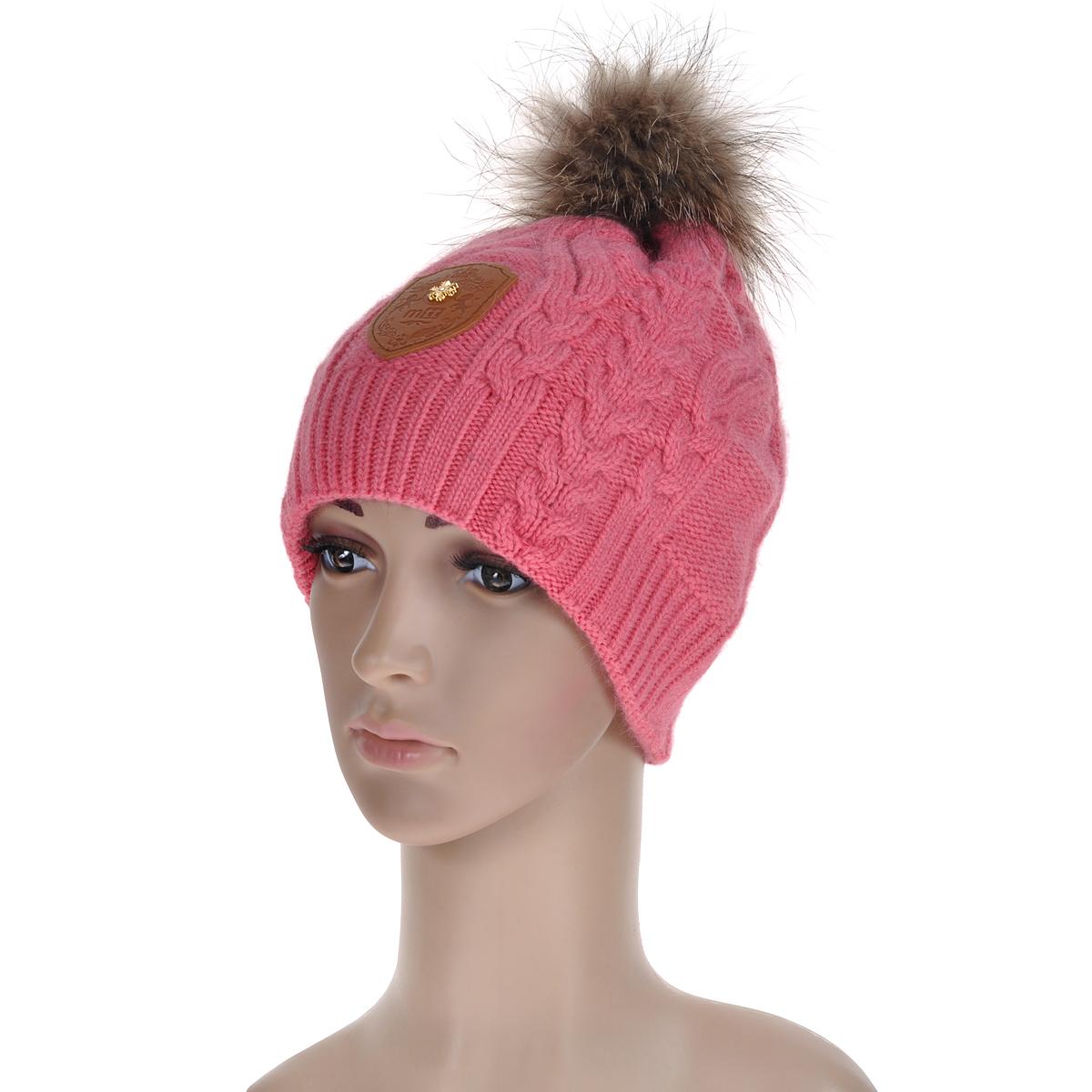 """Шапка женская. 45184518Вязаная шапка Marhatter, связанная узором """"косы"""", выполнена из шерсти с добавлением нейлона, ангоры и вискозы. Она превосходно сохраняет тепло, мягкая и идеально прилегает к голове. Шапка оформлена помпоном из натурального меха."""