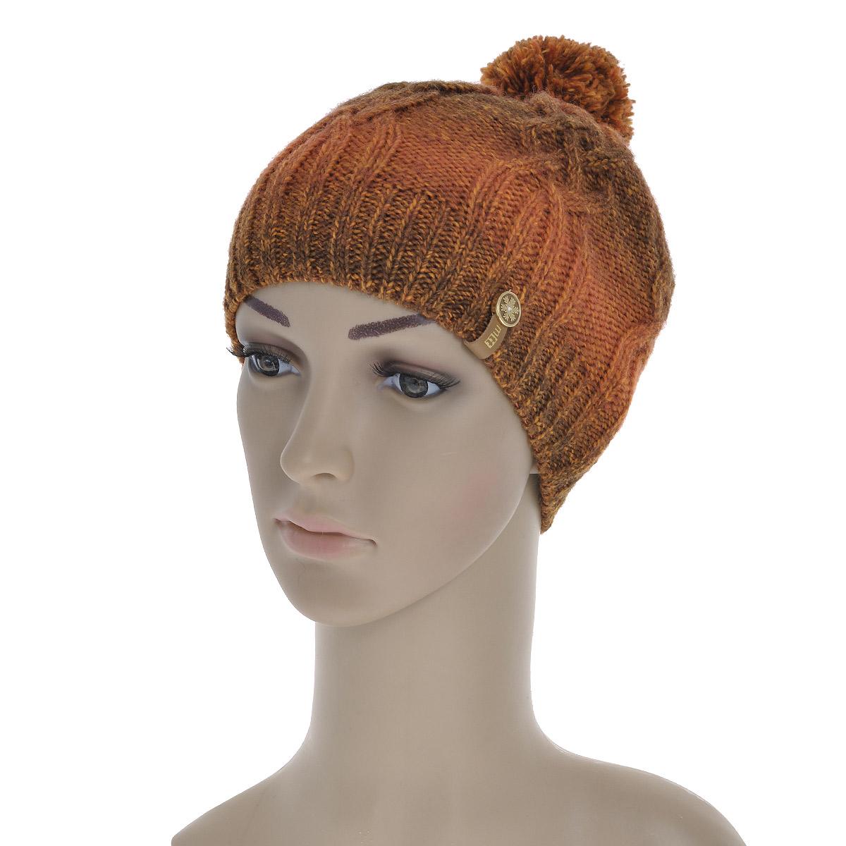 4418/1Вязаная шапка Marhatter выполнена из шерсти и акрила, подкладка - из мягкого флиса. Шапка превосходно сохраняет тепло, мягкая и идеально прилегает к голове. Шапка, связанная узором в виде кос, на макушке оформлена очаровательным помпоном.