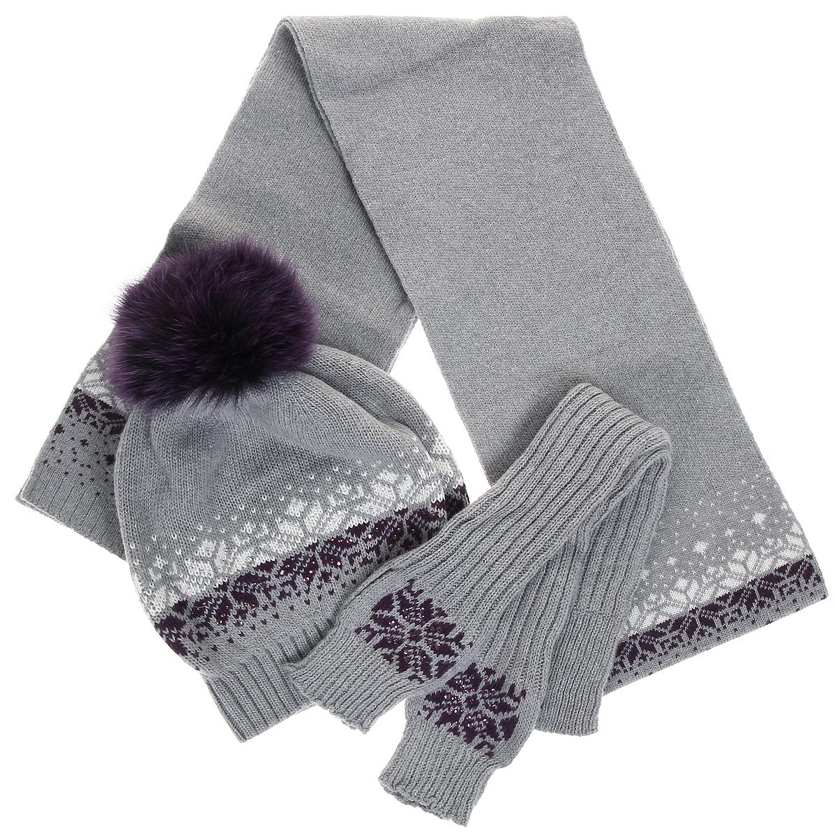 Комплект женский. 3586/43586/535863586/43586/53586Каждой женщине хочется иметь теплый красивый комплект, который отлично подойдет к верхней одежде и подчеркнет индивидуальность. Отличное решение - комплект из шапочки, шарфа и митенок, выполненных из мягкой пряжи с ангорой. Предметы набора оформлены зимним орнаментом и стразами. Шапка дополнена помпоном из натурального меха. Стильный дизайн и приятный на ощупь материал подарят вам истинное наслаждение. Комплект Marhatter добавит вашему образу женственности и подарит чувство комфорта в холодную погоду.