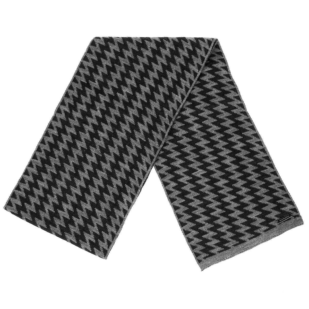 Шарф мужской. 4364143641Вязаный шарф Marhatter согреет в холодное время года, а также станет изысканным аксессуаром, который призван подчеркнуть ваши индивидуальность и стиль. Шарф, изготовленный из шерсти и акрила, максимально сохраняет тепло, хорошо тянется и устойчив к сминанию. Мягкий, теплый, удобный шарф оформлен орнаментом зиг-заг.