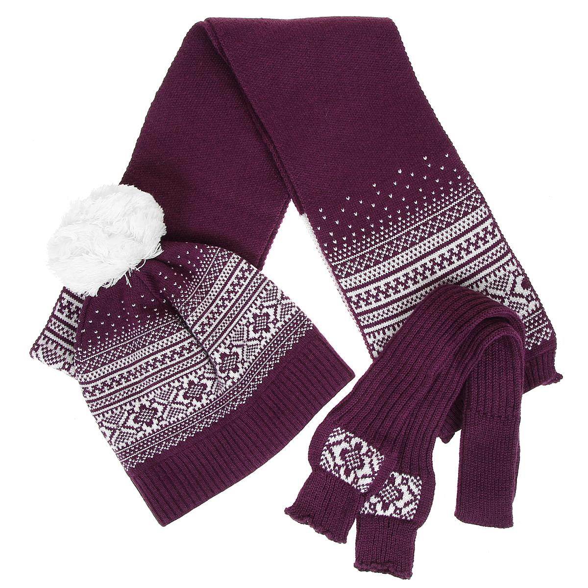 Комплект женский: шапка, шарф, митенки. 3633/43633/536333633/43633/53633Каждой женщине хочется иметь теплый красивый комплект, который отлично подойдет к верхней одежде и подчеркнет индивидуальность. Отличное решение - комплект из шапочки, шарфа и митенок, выполненных из шерсти и акрила. Предметы набора оформлены зимним орнаментом. Шапка дополнена пышным помпоном. Стильный дизайн и приятный на ощупь материал подарят вам истинное наслаждение. Комплект Marhatter добавит вашему образу женственности и подарит чувство комфорта в холодную погоду.