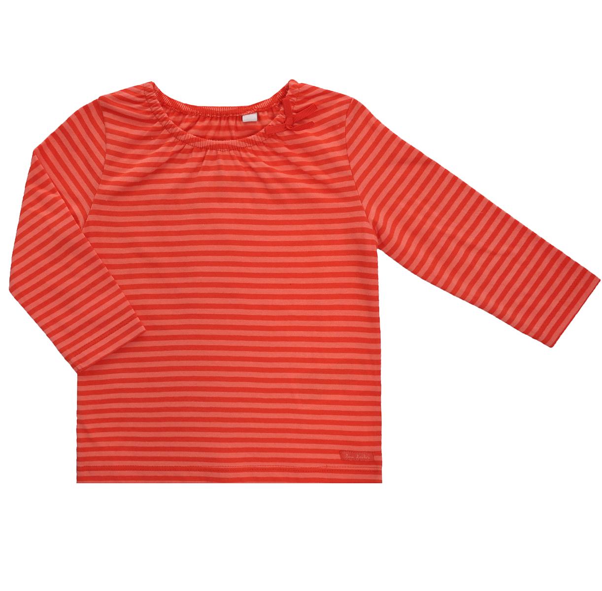 Футболка с длинным рукавом для девочки. 1025724.00.211025724.00.21Очаровательная футболка для девочки Tom Tailor идеально подойдет вашей малышке. Изготовленная из натурального хлопка, она необычайно мягкая и приятная на ощупь, не сковывает движения малышки и позволяет коже дышать, не раздражает даже самую нежную и чувствительную кожу ребенка, обеспечивая ему наибольший комфорт. Футболка с длинными рукавами и круглым вырезом горловины оформлена принтом в полоску. Вырез горловины дополнен скрытой эластичной резинкой и украшен бантиком, что гармонично дополняет образ. Оригинальный современный дизайн и модная расцветка делают эту футболку модным и стильным предметом детского гардероба. В ней ваша малышка будет чувствовать себя уютно и комфортно, и всегда будет в центре внимания!