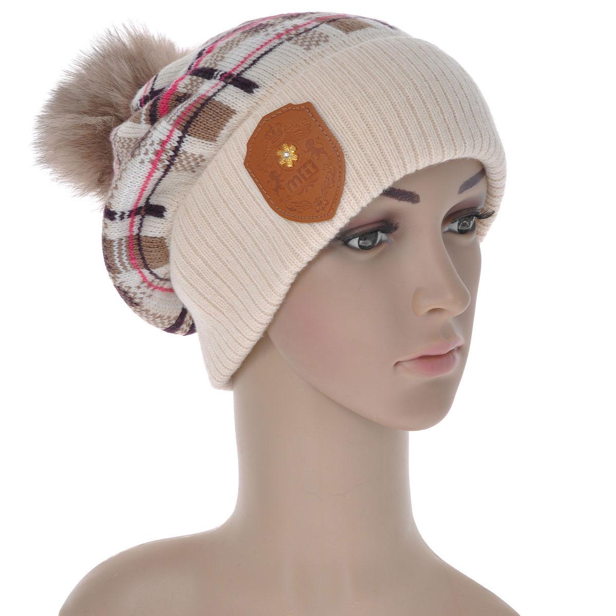 Шапка женская. 43404340Женская шапка Marhatter выполнена из шерсти и акрила. Шапка превосходно сохраняет тепло, мягкая и идеально прилегает к голове. Шапка декорирована кожаным гербом с логотипом фирмы и помпоном из натурального меха. Уважаемые клиенты! Размер, доступный для заказа, является обхватом головы.