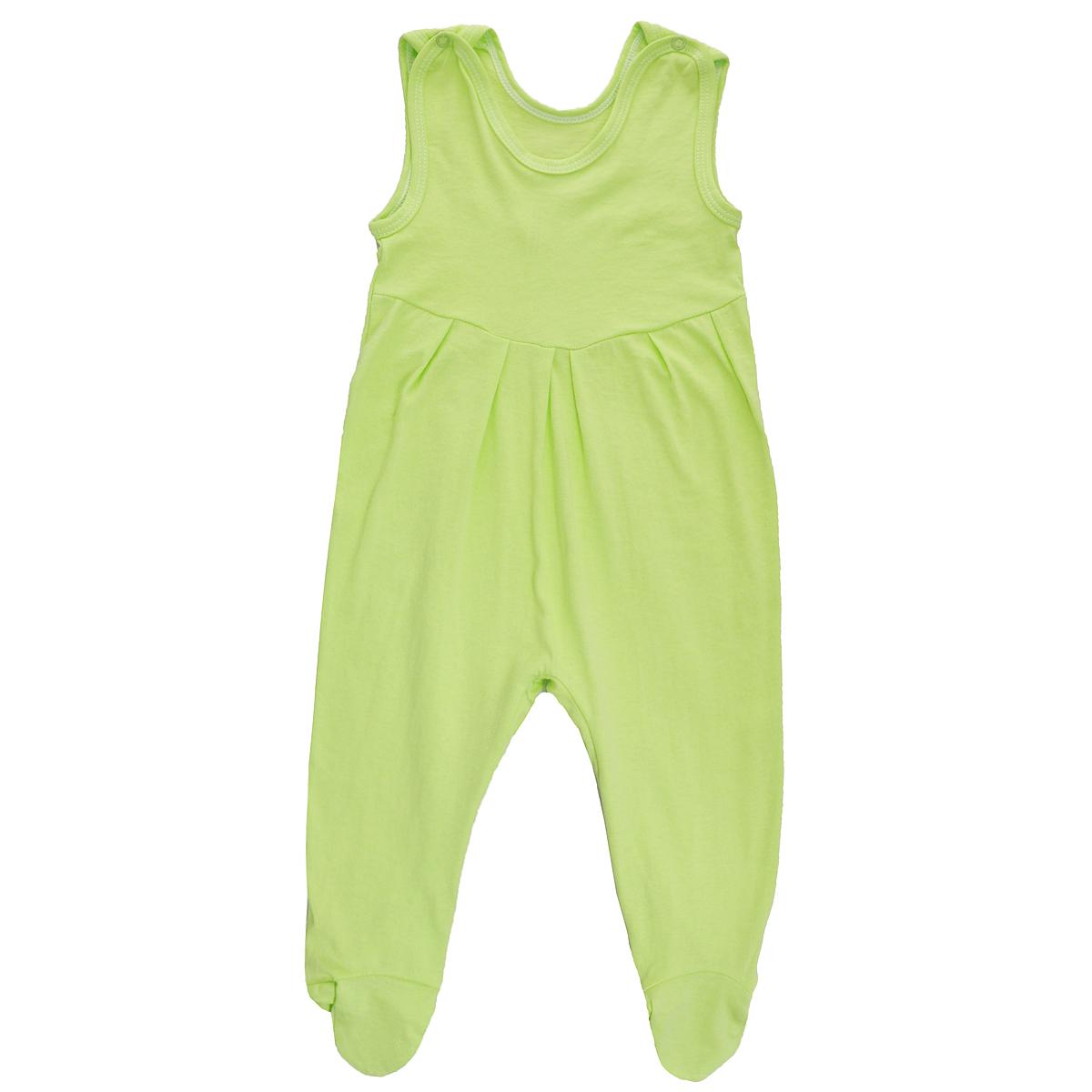 Ползунки с грудкой. 52375237Ползунки с грудкой Трон-плюс - очень удобный и практичный вид одежды для малышей. Они отлично сочетаются с футболками и кофточками. Ползунки выполнены из кулирного полотна - натурального хлопка, благодаря чему они необычайно мягкие и приятные на ощупь, не раздражают нежную кожу ребенка и хорошо вентилируются, а эластичные швы приятны телу младенца и не препятствуют его движениям. Ползунки с закрытыми ножками, застегивающиеся сверху на кнопки, идеально подойдут вашему ребенку, обеспечивая ему наибольший комфорт, подходят для ношения с подгузником и без него. Кнопки на ластовице помогают легко и без труда поменять подгузник в течение дня. От линии груди заложены складочки, придающие изделию оригинальность. Ползунки с грудкой полностью соответствуют особенностям жизни младенца в ранний период, не стесняя и не ограничивая его в движениях!