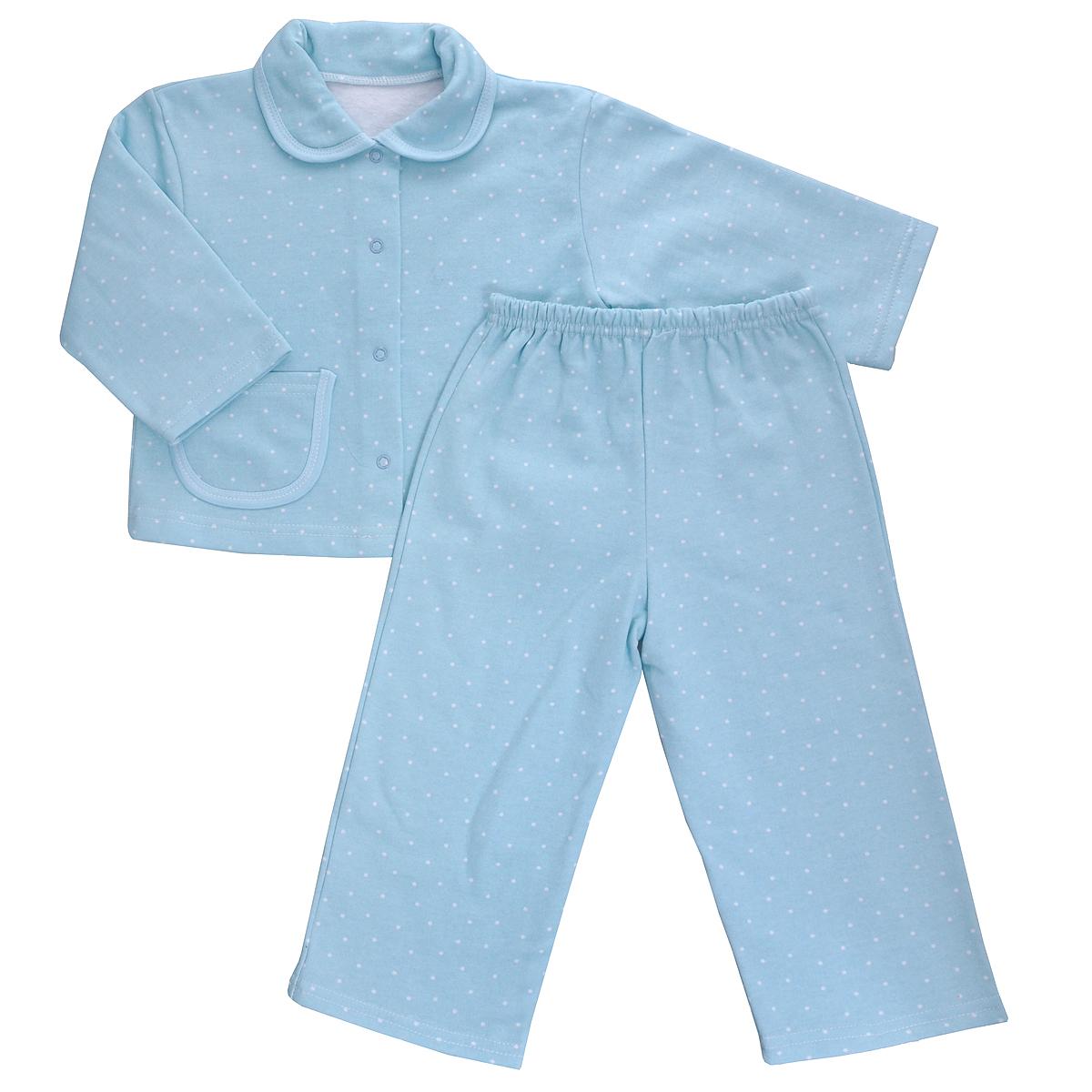 Пижама5552Яркая детская пижама Трон-плюс, состоящая из кофточки и штанишек, идеально подойдет вашему малышу и станет отличным дополнением к детскому гардеробу. Теплая пижама, изготовленная из набивного футера - натурального хлопка, необычайно мягкая и легкая, не сковывает движения ребенка, позволяет коже дышать и не раздражает даже самую нежную и чувствительную кожу малыша. Кофта с длинными рукавами имеет отложной воротничок и застегивается на кнопки, также оформлена небольшим накладным карманчиком. Штанишки на удобной резинке не сдавливают животик ребенка и не сползают. В такой пижаме ваш ребенок будет чувствовать себя комфортно и уютно во время сна.
