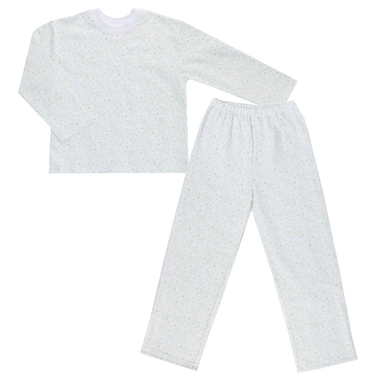 Пижама детская. 55535553Яркая детская пижама Трон-плюс, состоящая из кофточки и штанишек, идеально подойдет вашему малышу и станет отличным дополнением к детскому гардеробу. Теплая пижама, изготовленная из набивного футера - натурального хлопка, необычайно мягкая и легкая, не сковывает движения ребенка, позволяет коже дышать и не раздражает даже самую нежную и чувствительную кожу малыша. Кофта с длинными рукавами имеет круглый вырез горловины. Штанишки на удобной резинке не сдавливают животик ребенка и не сползают. В такой пижаме ваш ребенок будет чувствовать себя комфортно и уютно во время сна.