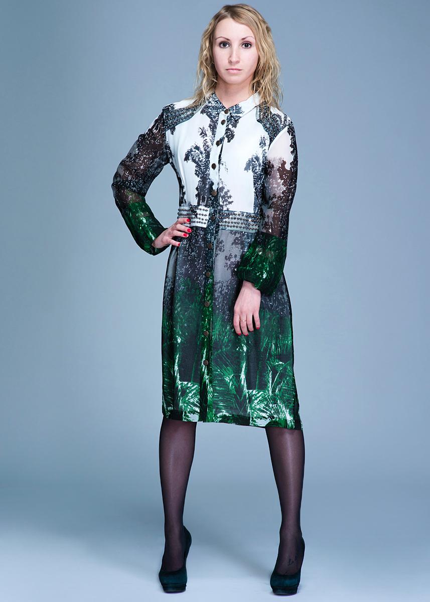 Платье3.75.627.05Стильное платье Van-Dos, изготовленное из вискозы, подарит вам комфорт. Модель с длинными рукавами и отложным воротничком застегивается на пуговицы по всей длине. Изделие приталенного силуэта. Манжеты также декорированы планками с пуговицами. Платье оформлено оригинальным принтом и декорировано металлическими бусинами. В таком наряде вы, безусловно, привлечете восхищенные взгляды окружающих.