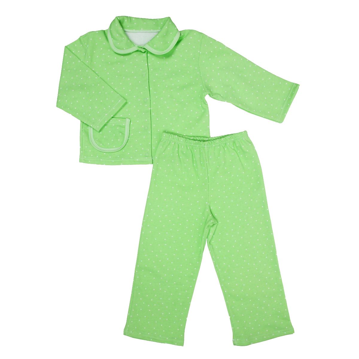 Пижама детская. 55525552Яркая детская пижама Трон-плюс, состоящая из кофточки и штанишек, идеально подойдет вашему малышу и станет отличным дополнением к детскому гардеробу. Теплая пижама, изготовленная из набивного футера - натурального хлопка, необычайно мягкая и легкая, не сковывает движения ребенка, позволяет коже дышать и не раздражает даже самую нежную и чувствительную кожу малыша. Кофта с длинными рукавами имеет отложной воротничок и застегивается на кнопки, также оформлена небольшим накладным карманчиком. Штанишки на удобной резинке не сдавливают животик ребенка и не сползают. В такой пижаме ваш ребенок будет чувствовать себя комфортно и уютно во время сна.