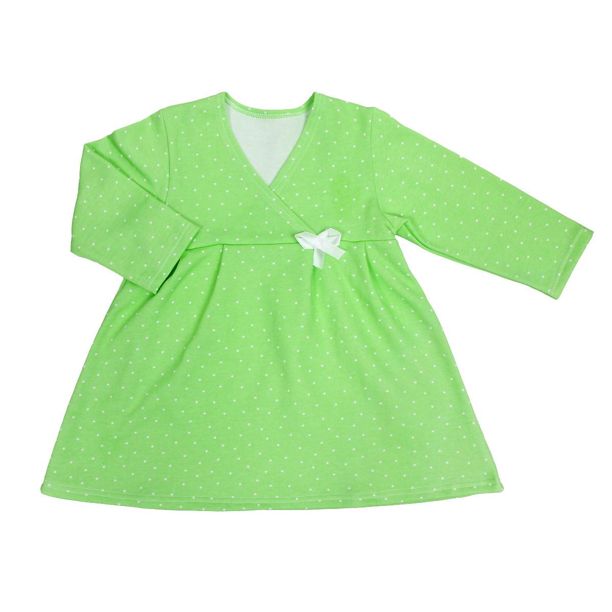 Сорочка ночная для девочки. 55225522Яркая сорочка Трон-плюс идеально подойдет вашей малышке и станет отличным дополнением к детскому гардеробу. Теплая сорочка, изготовленная из футера - натурального хлопка, необычайно мягкая и легкая, не сковывает движения ребенка, позволяет коже дышать и не раздражает даже самую нежную и чувствительную кожу малыша. Сорочка трапециевидного кроя с длинными рукавами, V-образным вырезом горловины. Полочка состоит из двух частей, заходящих друг на друга. По переднему и заднему полотнищам юбки заложены небольшие складки. Сорочка оформлена атласным бантиком. В такой сорочке ваш ребенок будет чувствовать себя комфортно и уютно во время сна.