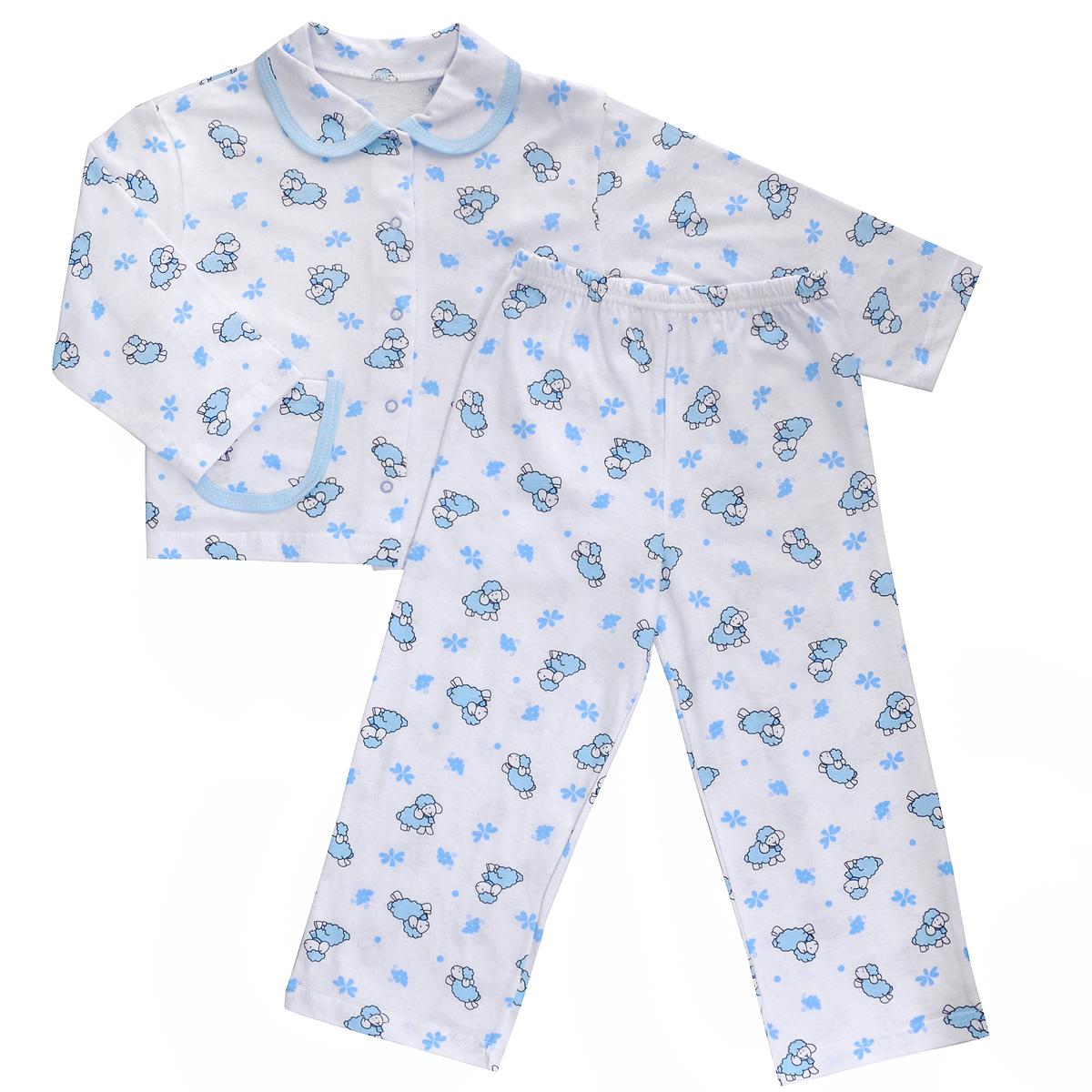 Пижама5562Яркая детская пижама Трон-плюс, состоящая из кофточки и штанишек, идеально подойдет вашему малышу и станет отличным дополнением к детскому гардеробу. Теплая пижама, изготовленная из кулирки - натурального хлопка, необычайно мягкая и легкая, не сковывает движения ребенка, позволяет коже дышать и не раздражает даже самую нежную и чувствительную кожу малыша. Кофта с длинными рукавами имеет отложной воротничок и застегивается на кнопки, также оформлена небольшим накладным карманчиком. Штанишки на удобной резинке не сдавливают животик ребенка и не сползают. В такой пижаме ваш ребенок будет чувствовать себя комфортно и уютно во время сна.