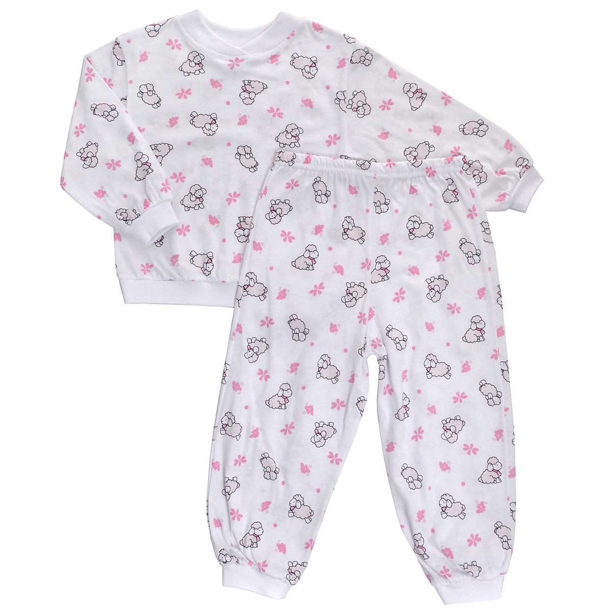 Пижама детская. 55Яркая детская пижама Трон-плюс, состоящая из кофточки и штанишек, идеально подойдет вашему малышу и станет отличным дополнением к детскому гардеробу. Теплая пижама, изготовленная из кулирки - натурального хлопка, необычайно мягкая и легкая, не сковывает движения ребенка, позволяет коже дышать и не раздражает даже самую нежную и чувствительную кожу малыша. Кофта с длинными рукавами имеет круглый вырез горловины. Штанишки на удобной резинке не сдавливают животик ребенка и не сползают. Низ брючин и рукавов оформлены широкими эластичными манжетами. В такой пижаме ваш ребенок будет чувствовать себя комфортно и уютно во время сна.