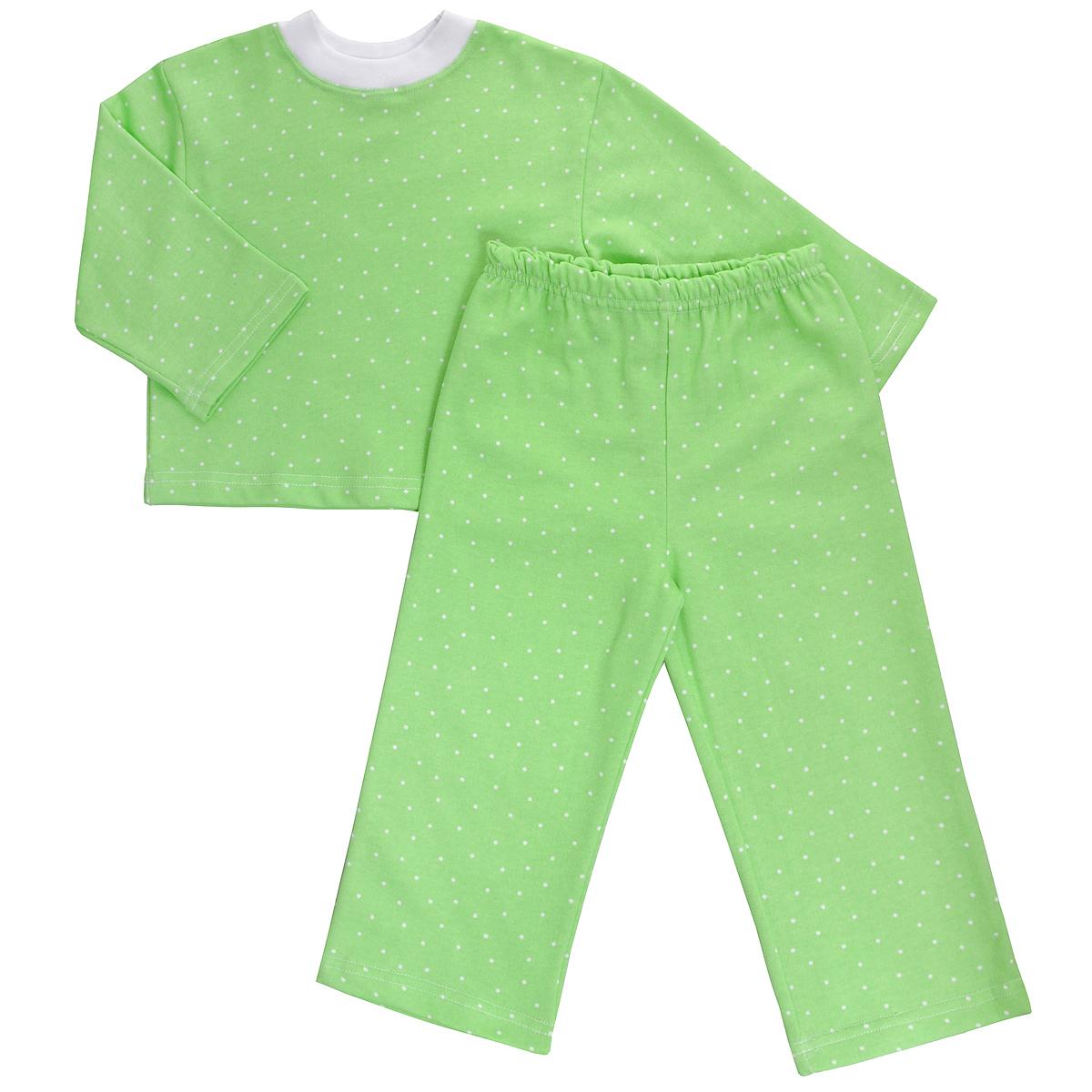 Пижама5553Яркая детская пижама Трон-плюс, состоящая из кофточки и штанишек, идеально подойдет вашему малышу и станет отличным дополнением к детскому гардеробу. Теплая пижама, изготовленная из набивного футера - натурального хлопка, необычайно мягкая и легкая, не сковывает движения ребенка, позволяет коже дышать и не раздражает даже самую нежную и чувствительную кожу малыша. Кофта с длинными рукавами имеет круглый вырез горловины. Штанишки на удобной резинке не сдавливают животик ребенка и не сползают. В такой пижаме ваш ребенок будет чувствовать себя комфортно и уютно во время сна.