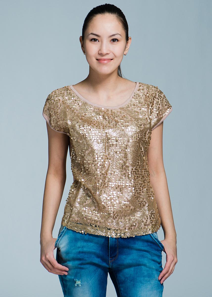 Блуза женская. 1015087210150872Оригинальная блузка с круглым вырезом выполнена из высококачественного материала. Модель без рукавов спереди украшена пайетками Эта элегантная вещь, несомненно, станет украшением вашего гардероба.