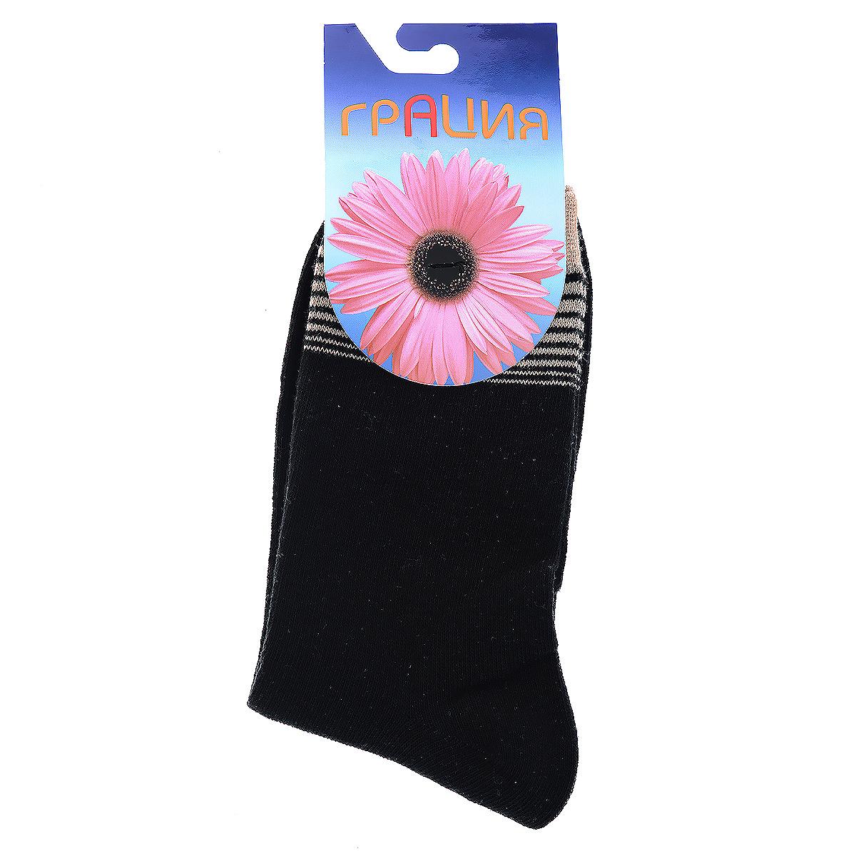 Н 002-4-10Женские носки Грация изготовлены из экологически чистых материалов в соответствии с мировыми стандартами качества. Комфортная широкая резинка не сдавливает ногу.