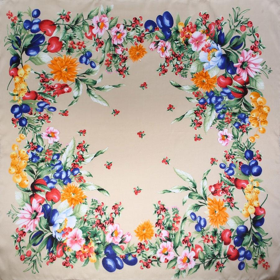 Платок. 18009291800929-12Восхитительный женский платок выполнен из натурального шелка. Мягкая и тонкая ткань прекрасно драпируется и дарит чувство комфорта, а легкий блеск сделает образ роскошным и стильным. Платок с очаровательным цветочно-ягодным принтом, яркие и насыщенные тона освежат Ваш наряд. Края платка обработаны вручную. Если Вы любите фантазировать и не страшитесь экспериментов с собственным имиджем - попробуйте превратить платок в браслет, головную повязку или легкий аксессуар для дамской сумочки. Правильно подобранный платок делает образ женщины завершенным! Такой аксессуар достойно дополнит Вашу коллекцию платков.
