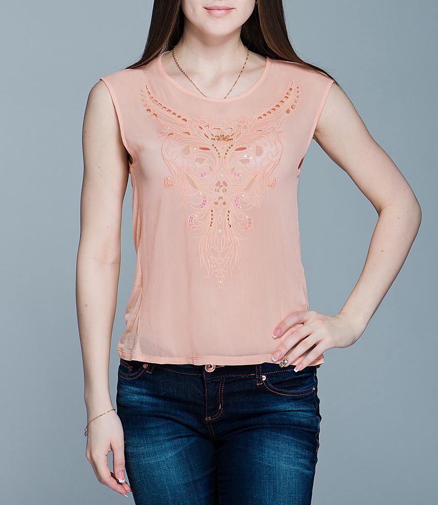 Блуза. Tws-112/074-412Tws-112/074-412Стильная блуза SELA свободного кроя не сковывает движений, обеспечивая наибольший комфорт. Модель с круглым вырезом горловины без рукавов. Лицевая сторона блузки выполнена из полиэстера и оформлена декоративной перфорацией, удлиненная спинка - из вискозы. В такой оригинальной блузе вы будете чувствовать себя уютно и комфортно, оставаясь при этом в центре внимания.