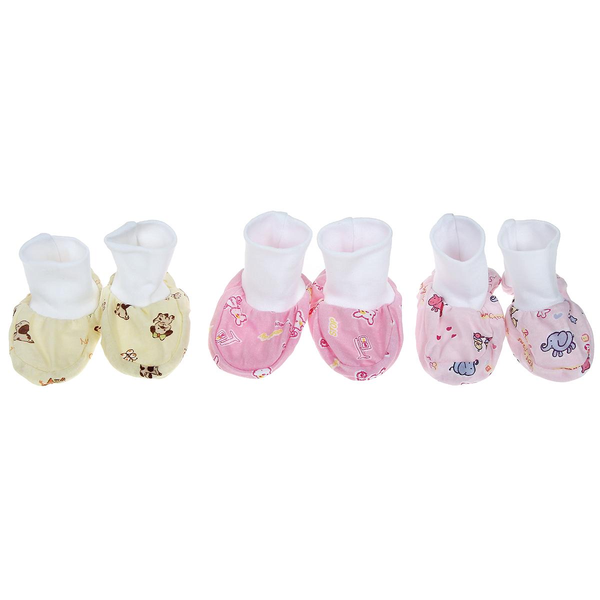 10-109дУдобные детские пинетки из мягкого материала. В комплекте 3 пары.