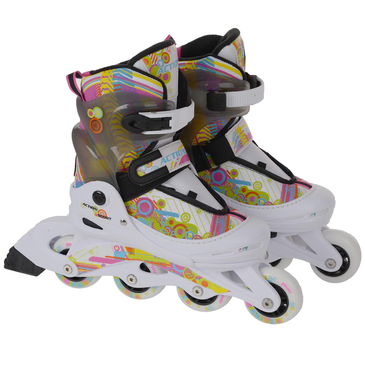 Коньки роликовые, раздвижные. PW-117NPW-117NРаздвижные коньки Action - это роликовые коньки любительского класса для детей и постоянно растущих подростков, предназначены для занятий спортом и активного отдыха. Коньки имеют полумягкий ботинок с раздвижным механизмом, что обеспечивает хорошую посадку и пластичность, а для еще более комфортного катания ботинки коньков оснащены классической системой шнуровки, клипсой с фиксатором, ремешком на липучке и пяточным ремнем. Облегченная, анатомически облегающая конструкция обеспечивает улучшенную боковую поддержку и полный контроль над движением. Стельки роликов выполнены из двух материалов: базовый для обеспечения формы стельки; дополнительный - покрытие стельки мягким материалом для удобного одевания и комфорта. Рама изготовлена из пластика, а колеса из полиуретана с карбоновыми подшипниками ABEC5. Диаметр колес 70 мм. В каждой модели роликов есть тормоз.