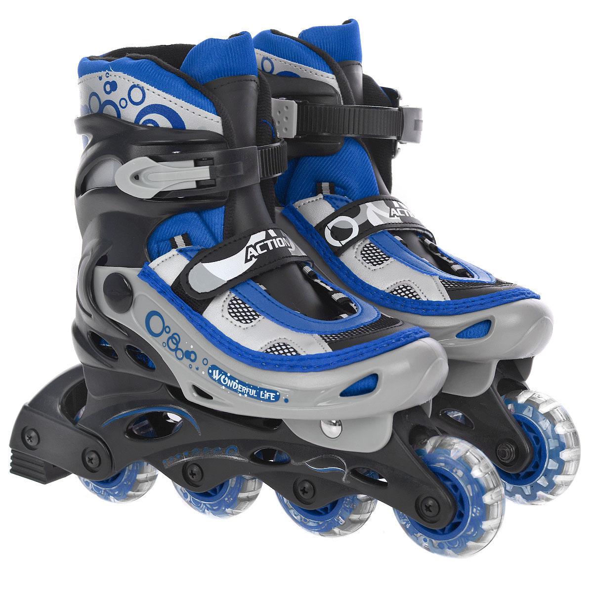 Коньки роликовые, раздвижные. PW-330PW-330Раздвижные роликовые коньки Action с мягким ботинком предназначены для любительского катания. Коньки имеют высокоэластичные и износостойкие колеса из жесткого полиуретана. Мягкий комбинированный ботинок из кожзаменителя и воздухопроницаемого сетчатого материала с армированный конструкцией, уплотненный носок, система быстрой шнуровки, клипса с фиксатором и хлястик на липучке обеспечивают надежную фиксацию ноги во время катания. Рама изготовлена из пластика, а колеса 64 мм с подшипниками 608Z - из полиуретана. Модель оснащена тормозом. Роликовые коньки - это прекрасная возможность активного время провождения, отличный способ снять напряжение после трудового дня, пообщаться с друзьями, завести новые знакомства и повысить свою самооценку. При выборе роликовых коньков следует заботиться не о цвете, внешнем виде или фирме-производителе, а о том, чтобы вам и вашему ребенку было удобно и комфортно в выбранной модели, и чтобы нога надежно и плотно фиксировалась в...