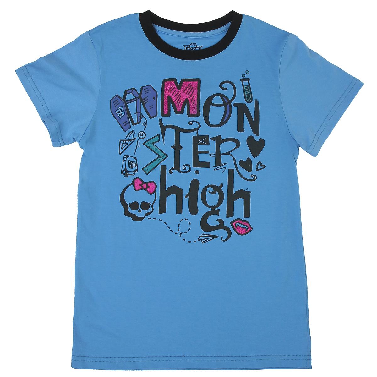 Футболка для девочки. MH-TSG63MH-TSG63_BLUСтильная футболка для девочки Monster High идеально подойдет вашей маленькой моднице. Изготовленная из натурального хлопка, она необычайно мягкая и приятная на ощупь, не сковывает движения ребенка и позволяет коже дышать, не раздражает даже самую нежную и чувствительную кожу, обеспечивая наибольший комфорт. Футболка свободного кроя с короткими рукавами и круглым вырезом горловины спереди оформлена оригинальными принтованой надписью Monster High. Вырез горловины дополнен трикотажной эластичной резинкой. Оригинальный современный дизайн и модная расцветка делают эту футболку модным и стильным предметом детского гардероба. В ней ваша дочурка будет чувствовать себя уютно и комфортно, и всегда будет в центре внимания!