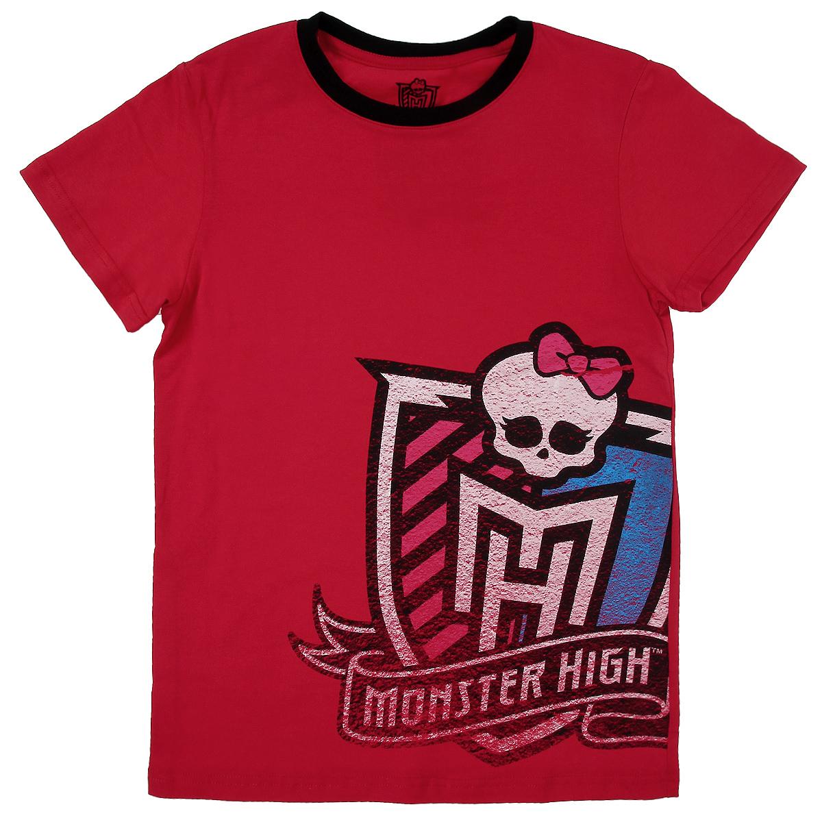 Футболка для девочки. MH-TSG48MH-TSG48Стильная футболка для девочки Monster High идеально подойдет вашей маленькой моднице. Изготовленная из натурального хлопка, она необычайно мягкая и приятная на ощупь, не сковывает движения ребенка и позволяет коже дышать, не раздражает даже самую нежную и чувствительную кожу, обеспечивая наибольший комфорт. Футболка свободного кроя с короткими рукавами и круглым вырезом горловины спереди оформлена оригинальным принтом. Вырез горловины дополнен трикотажной эластичной резинкой. Оригинальный современный дизайн и модная расцветка делают эту футболку модным и стильным предметом детского гардероба. В ней ваша дочурка будет чувствовать себя уютно и комфортно, и всегда будет в центре внимания!