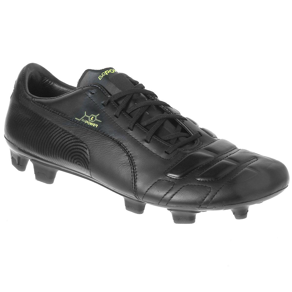 Бутсы мужские evoPOWER 1 L FG10294301Футбольные бутсы Puma evoPOWER 1 L FG - это стильные и надежные бутсы, выполненные из натуральной кожи с шипованной подошвой. Эти бутсы предназначены для большинства естественных и современных синтетических футбольных полей. Шипы круглой и плоской форм изготовлены из термопластичного полиуретана. Такая обувь обеспечивают хорошее сцепление и устойчивость на большинстве натуральных и современных искусственных футбольных полей и футболисты чаще всего выбирают именно этот тип футбольных бутс. Подошва изготовлена из пластика, а подкладка - из текстиля. Бутсы на шнуровке.