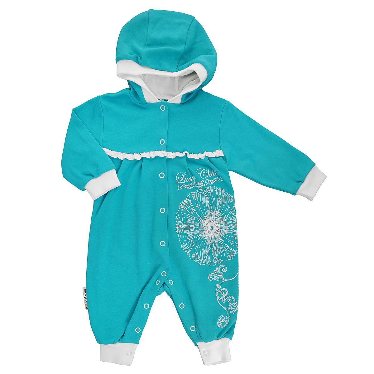 14-3Детский комбинезон для девочки Lucky Child - очень удобный и практичный вид одежды для малышей. Комбинезон выполнен из натурального хлопка, благодаря чему он необычайно мягкий и приятный на ощупь, не раздражает нежную кожу ребенка и хорошо вентилируется, а эластичные швы приятны телу малышки и не препятствуют ее движениям. Комбинезон с капюшоном, длинными рукавами и открытыми ножками имеет застежки-кнопки от горловины и по всей длине, которые помогают легко переодеть младенца или сменить подгузник. Низ рукавов и низ штанин дополнены широкими трикотажными манжетами. На груди модель украшена ажурными рюшами. Оформлена модель оригинальны принтом в виде цветка, узоров и принтовой надписью с названием бренда. С детским комбинезоном Lucky Child спинка и ножки вашей малышки всегда будут в тепле, он идеален для использования днем и незаменим ночью. Комбинезон полностью соответствует особенностям жизни младенца в ранний период, не стесняя и не ограничивая его в движениях!