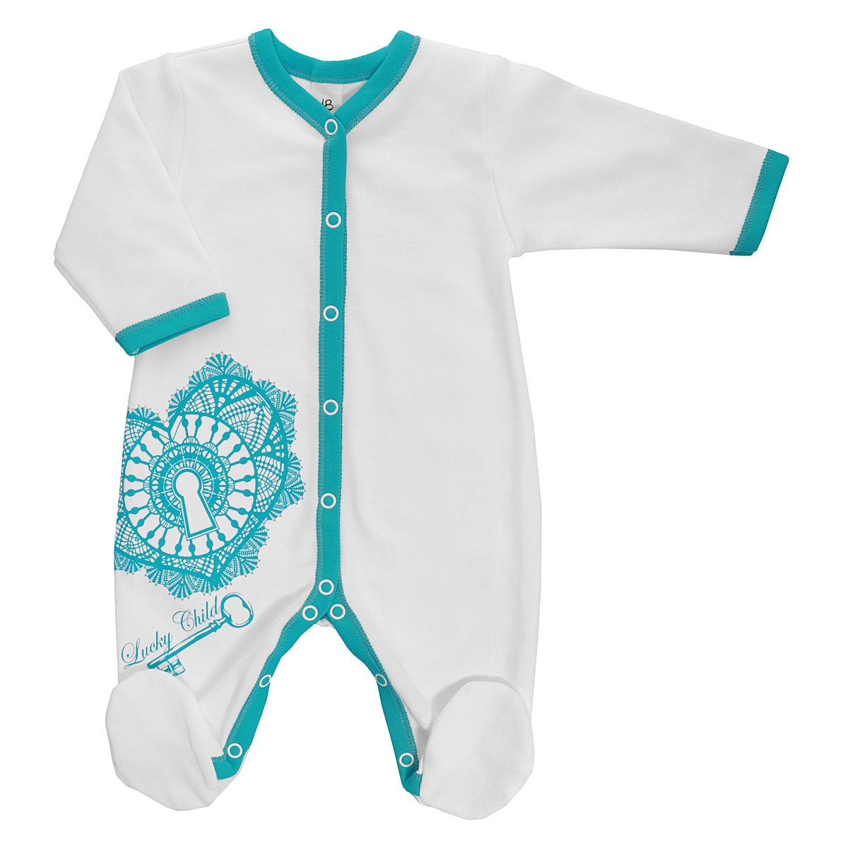 Комбинезон домашний14-1Детский комбинезон Lucky Child - очень удобный и практичный вид одежды для малышей. Комбинезон выполнен из натурального хлопка, благодаря чему он необычайно мягкий и приятный на ощупь, не раздражает нежную кожу ребенка и хорошо вентилируется, а эластичные швы приятны телу малыша и не препятствуют его движениям. Комбинезон с длинными рукавами и закрытыми ножками имеет застежки-кнопки от горловины до щиколоток, которые помогают легко переодеть младенца или сменить подгузник. Оформлена модель оригинальны принтом с изображением необычного сердечка и ключа от него, а также принтовой надписью с названием бренда. С детским комбинезоном Lucky Child спинка и ножки вашего малыша всегда будут в тепле, он идеален для использования днем и незаменим ночью. Комбинезон полностью соответствует особенностям жизни младенца в ранний период, не стесняя и не ограничивая его в движениях!