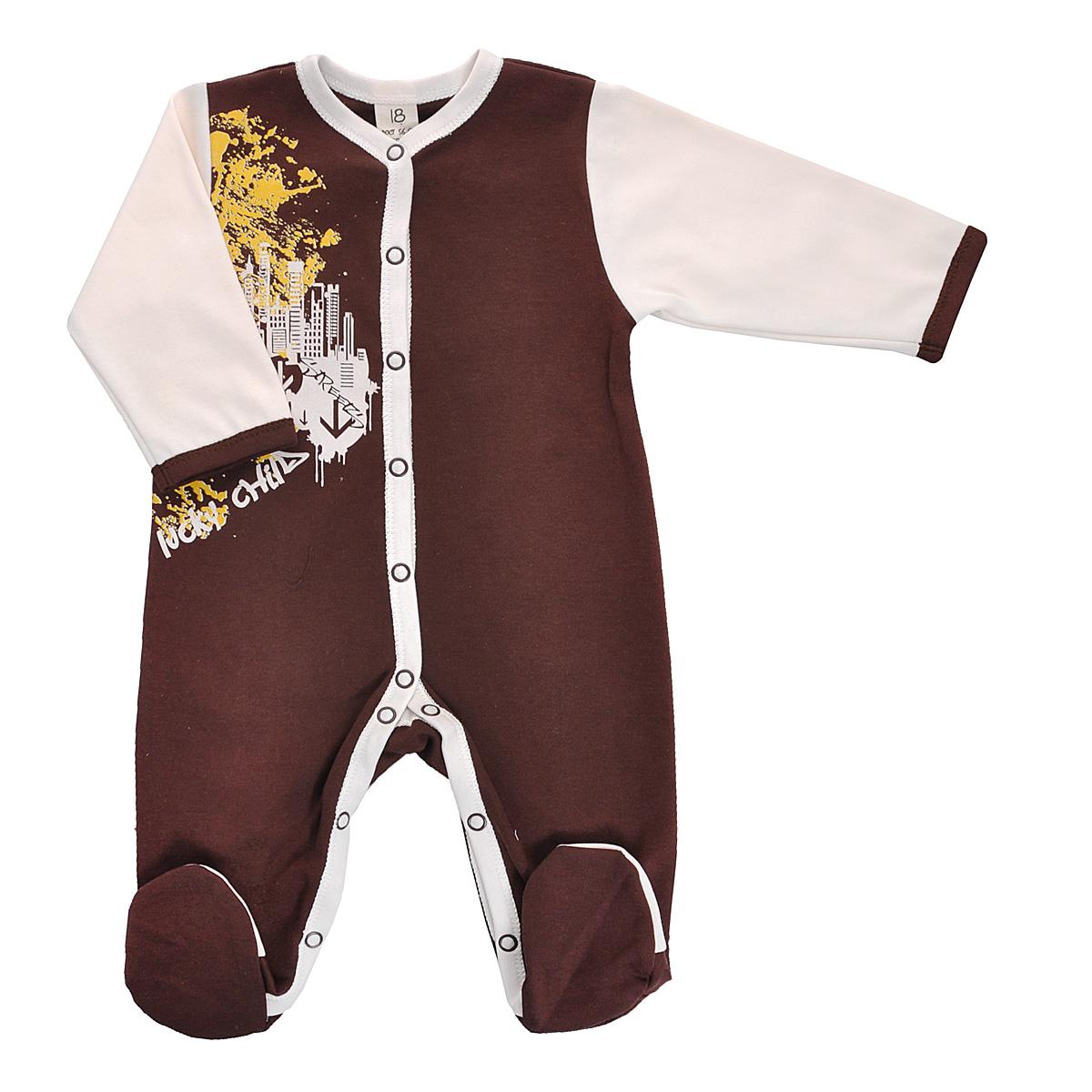 Комбинезон детский. 16-116-1Детский комбинезон Lucky Child - очень удобный и практичный вид одежды для малышей. Комбинезон выполнен из натурального хлопка, благодаря чему он необычайно мягкий и приятный на ощупь, не раздражает нежную кожу ребенка и хорошо вентилируется, а эластичные швы приятны телу малыша и не препятствуют его движениям. Комбинезон с длинными рукавами и закрытыми ножками имеет застежки-кнопки от горловины до щиколоток, которые помогают легко переодеть младенца или сменить подгузник. Оформлена модель оригинальны принтом. С детским комбинезоном Lucky Child спинка и ножки вашего малыша всегда будут в тепле, он идеален для использования днем и незаменим ночью. Комбинезон полностью соответствует особенностям жизни младенца в ранний период, не стесняя и не ограничивая его в движениях!