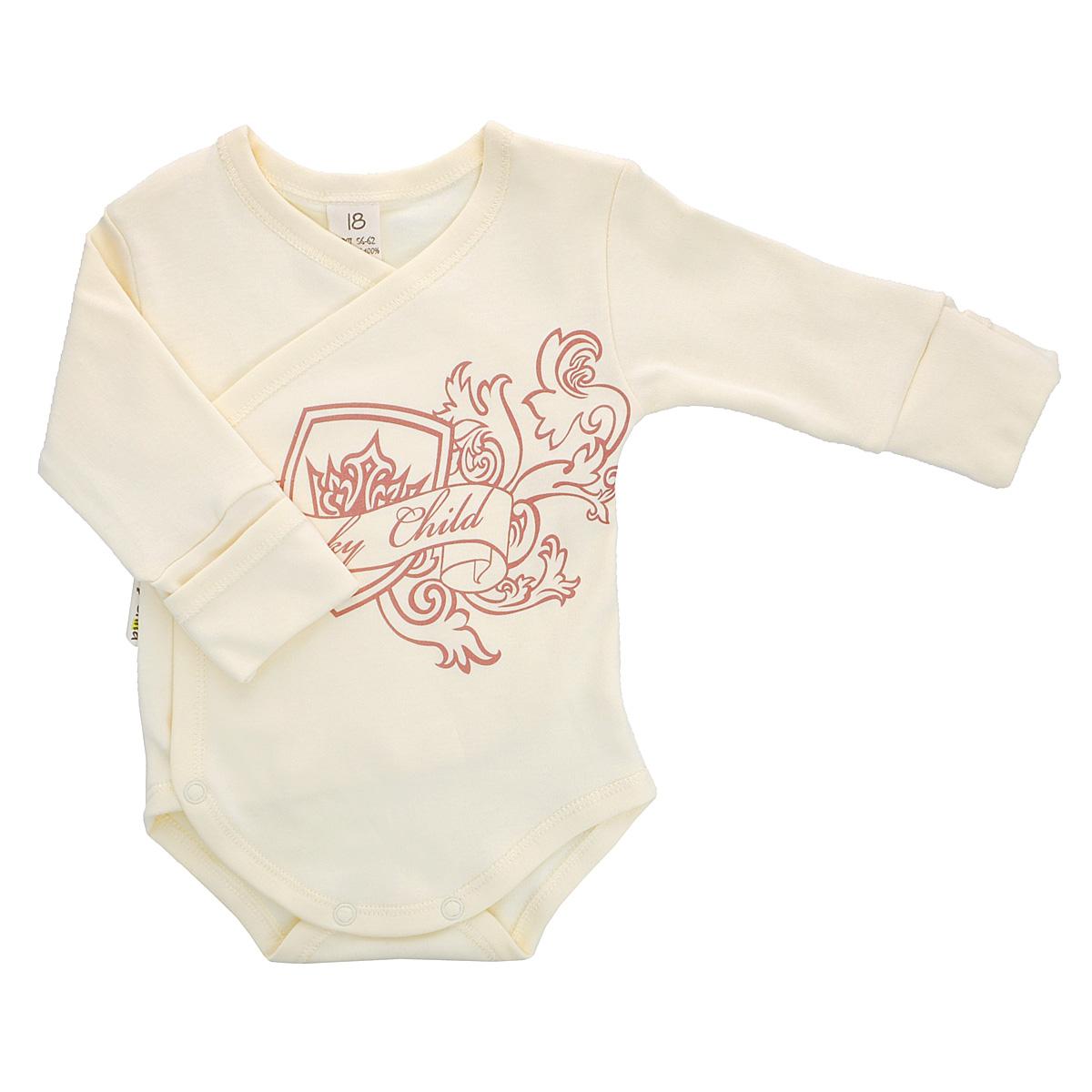 Боди детское. 6-56-5Детское боди Lucky Child с запахом и длинными рукавами послужит идеальным дополнением к гардеробу младенца, обеспечивая ему наибольший комфорт. Боди изготовлено из натурального хлопка, благодаря чему оно необычайно мягкое и легкое, не раздражает нежную кожу ребенка и хорошо вентилируется, а эластичные швы приятны телу ребенка и не препятствуют его движениям. Удобные застежки-кнопки по правому боку и на ластовице помогают легко переодеть младенца и сменить подгузник. Рукава дополнены широкими манжетами. Благодаря рукавичкам ребенок не поцарапает себя. Оформлено боди оригинальным принтом. Боди полностью соответствует особенностям жизни малыша в ранний период, не стесняя и не ограничивая его в движениях. В нем ваш ребенок всегда будет в центре внимания.