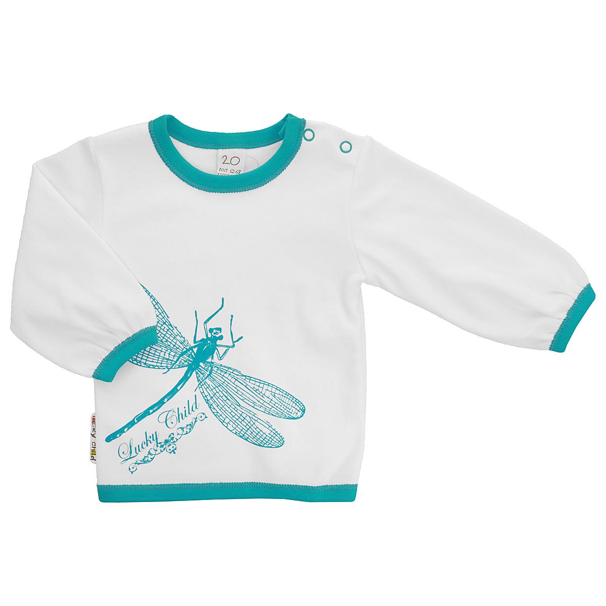 14-12Детская футболка Lucky Child Ретро послужит идеальным дополнением к гардеробу вашего малыша, обеспечивая ему наибольший комфорт. Изготовленная из натурального хлопка, она необычайно мягкая и легкая, не раздражает нежную кожу ребенка и хорошо вентилируется, а эластичные швы приятны телу малыша и не препятствуют его движениям. Футболка с длинными рукавами и круглым врезом горловины имеет кнопки по плечу, которые позволяют без труда переодеть ребенка. Спереди она оформлена печатным принтом с изображением стрекозы. А низ изделия, вырез горловины и края рукавов декорированы бейками контрастного цвета. Футболка полностью соответствует особенностям жизни ребенка в ранний период, не стесняя и не ограничивая его в движениях!