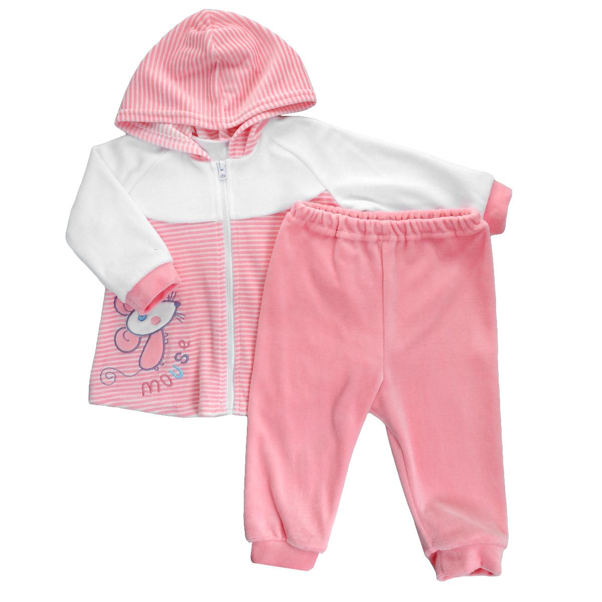 Комплект для девочки: кофточка, штанишки. 146034146034Практичный детский комплект Bell Bimbo прекрасно подойдет для вашей малышки. Комплект состоит из кофточки и штанишек, изготовленных из велюра. Он необычайно мягкий и приятный на ощупь, не сковывает движения малышки и позволяет коже дышать, не раздражает даже самую нежную и чувствительную кожу ребенка, обеспечивая ему наибольший комфорт. Кофточка трапециевидного кроя с капюшоном и длинными рукавами-реглан застегивается на пластиковую застежку-молнию, которая позволяет без труда переодеть ребенка. Спереди она оформлена оригинальной аппликацией-нашивкой в виде мышонка. Рукава понизу дополнены широкими манжетами. Детские штанишки прямого покроя очень удобные, с мягкой эластичной резинкой на талии, не сдавливают животик ребенка и не сползают. Понизу они дополнены широкими манжетами. Штанишки прекрасно сохраняют тепло и отлично сочетаются с футболками и кофточками. Комплект полностью соответствуют особенностям жизни малышки в ранний период, не стесняя и не ограничивая...