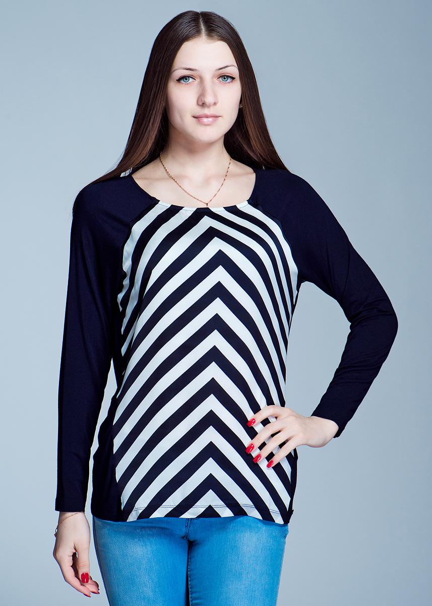 Футболка с длинным рукавом. 1110155011101550Стильная женская футболка Olsen с длинными рукавами выполнена из тонкого трикотажа и вставки из полупрозрачного полиэстера. Модель прямого кроя с рукавами-реглан и круглым вырезом оформлена принтом в полоску. Изделие очень приятное на ощупь, будет дарить вам комфорт в течение всего дня. Стильная футболка найдет достойное место в вашем гардеробе.